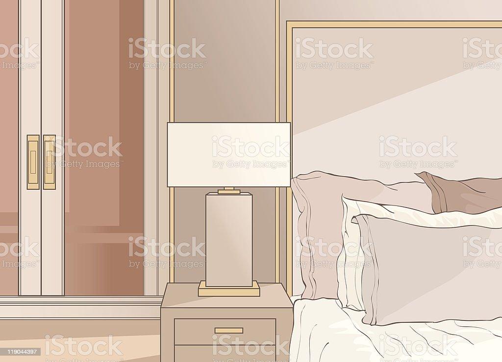 master bedroom in beige royalty-free stock vector art