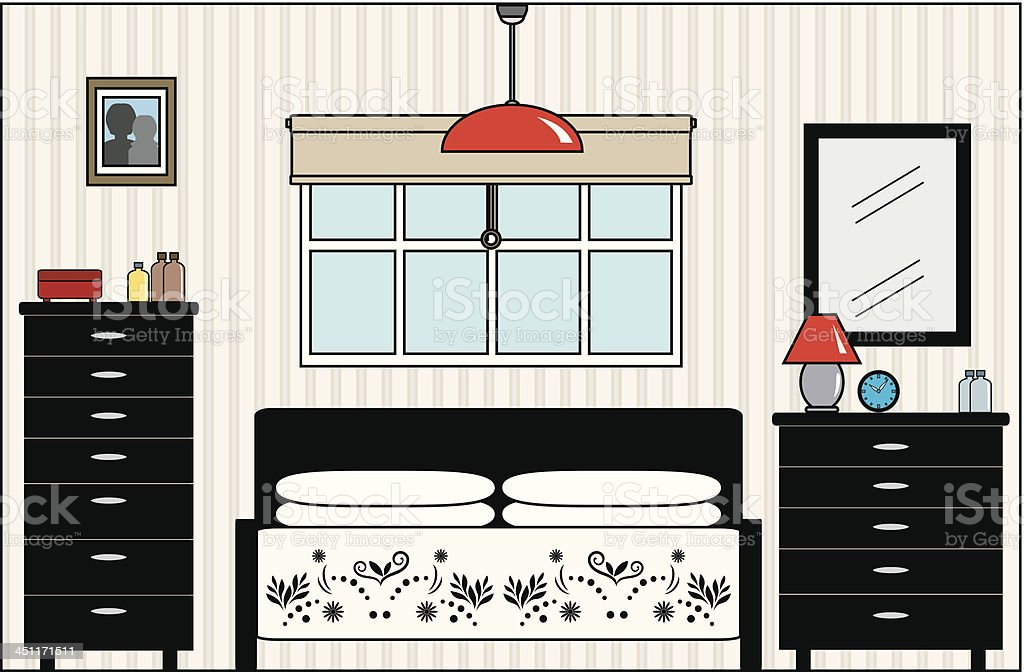 Master Bedroom with Bed Dresser Furniture and Fittings royalty-free stock vector art