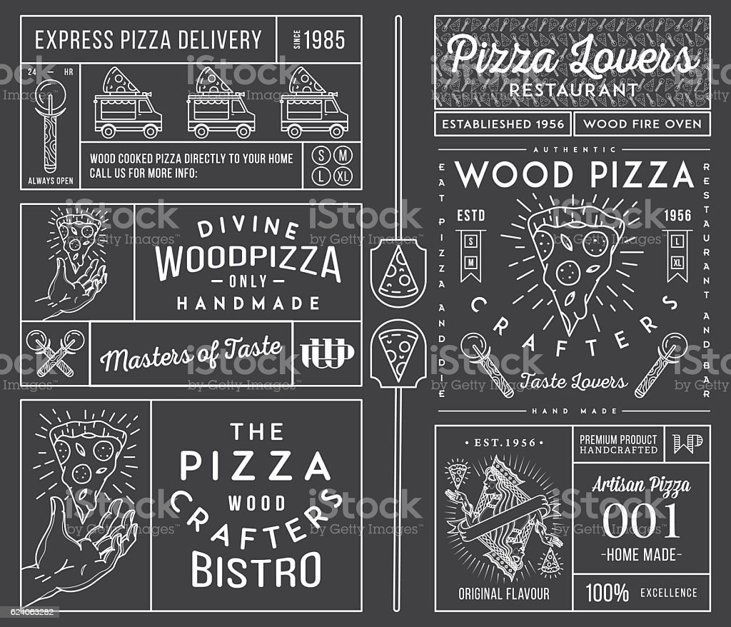 Masters and lovers of pizza white on black vector art illustration
