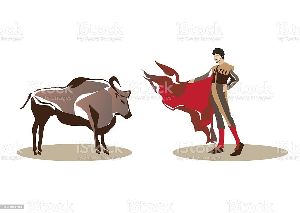 Matador and bullfighting vector art illustration