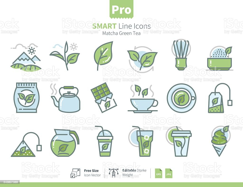 Matcha Green Tea icons colours vector art illustration