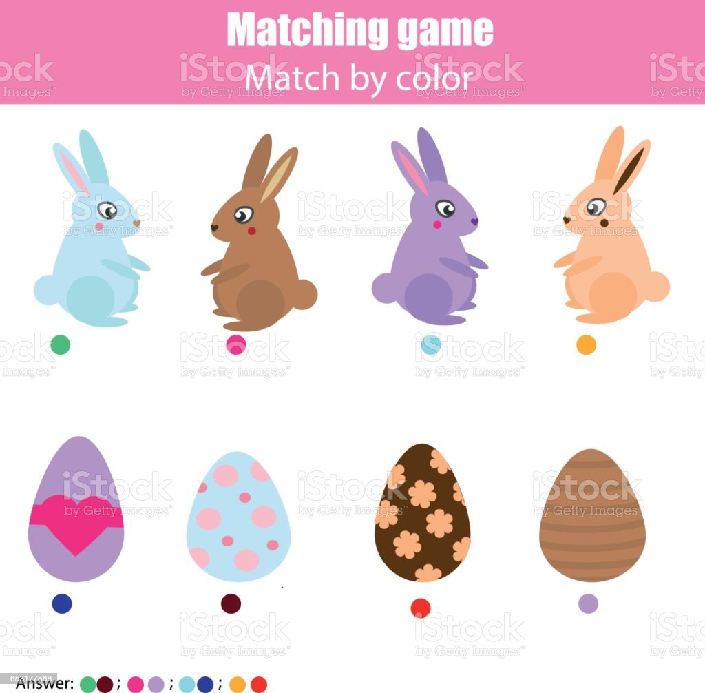 Matching children education game, kids activity. Easter hunting theme. Match by color. Connect bunny with eggs vector art illustration
