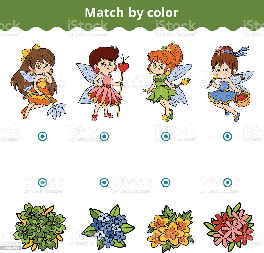 matching game for children match by color fairies and flowers