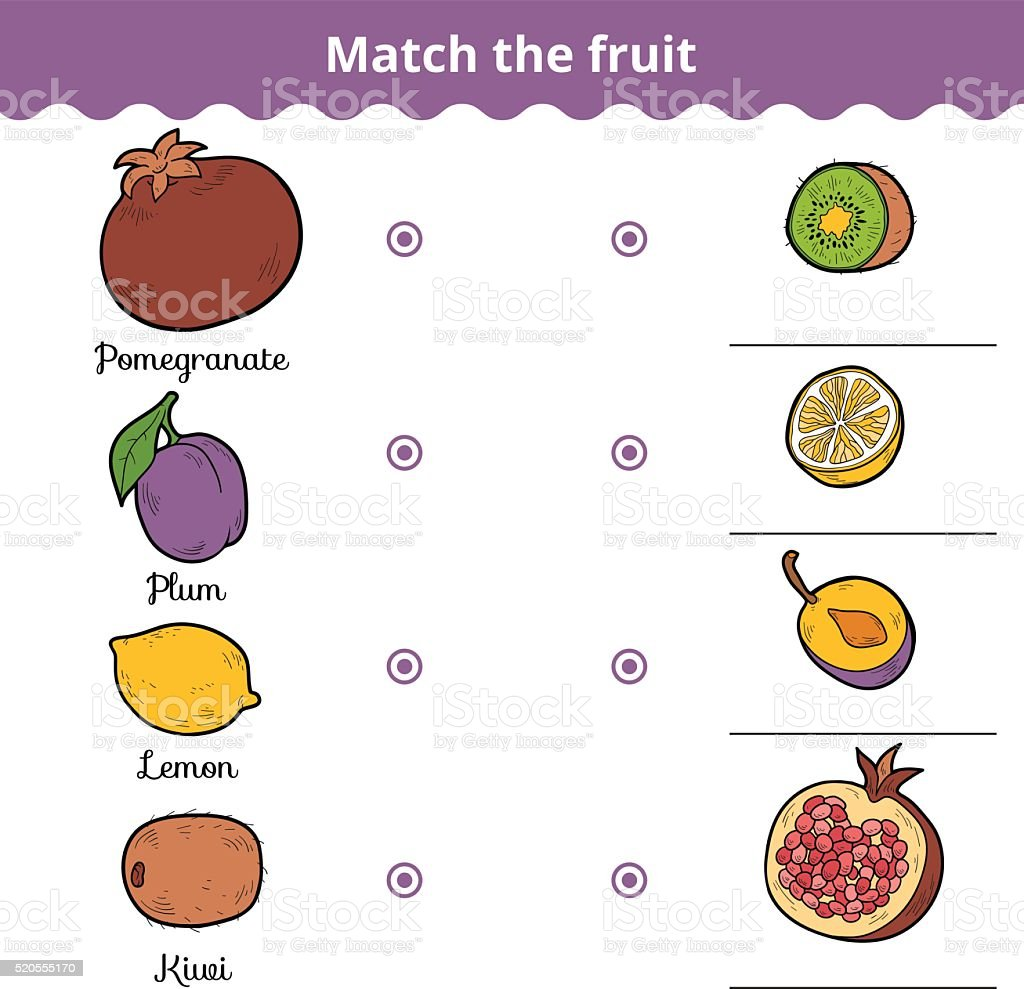 Matching game for children. Match the fruits vector art illustration