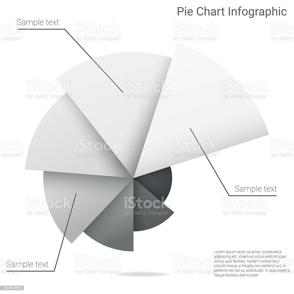 Material design infographic pie chart vector art illustration