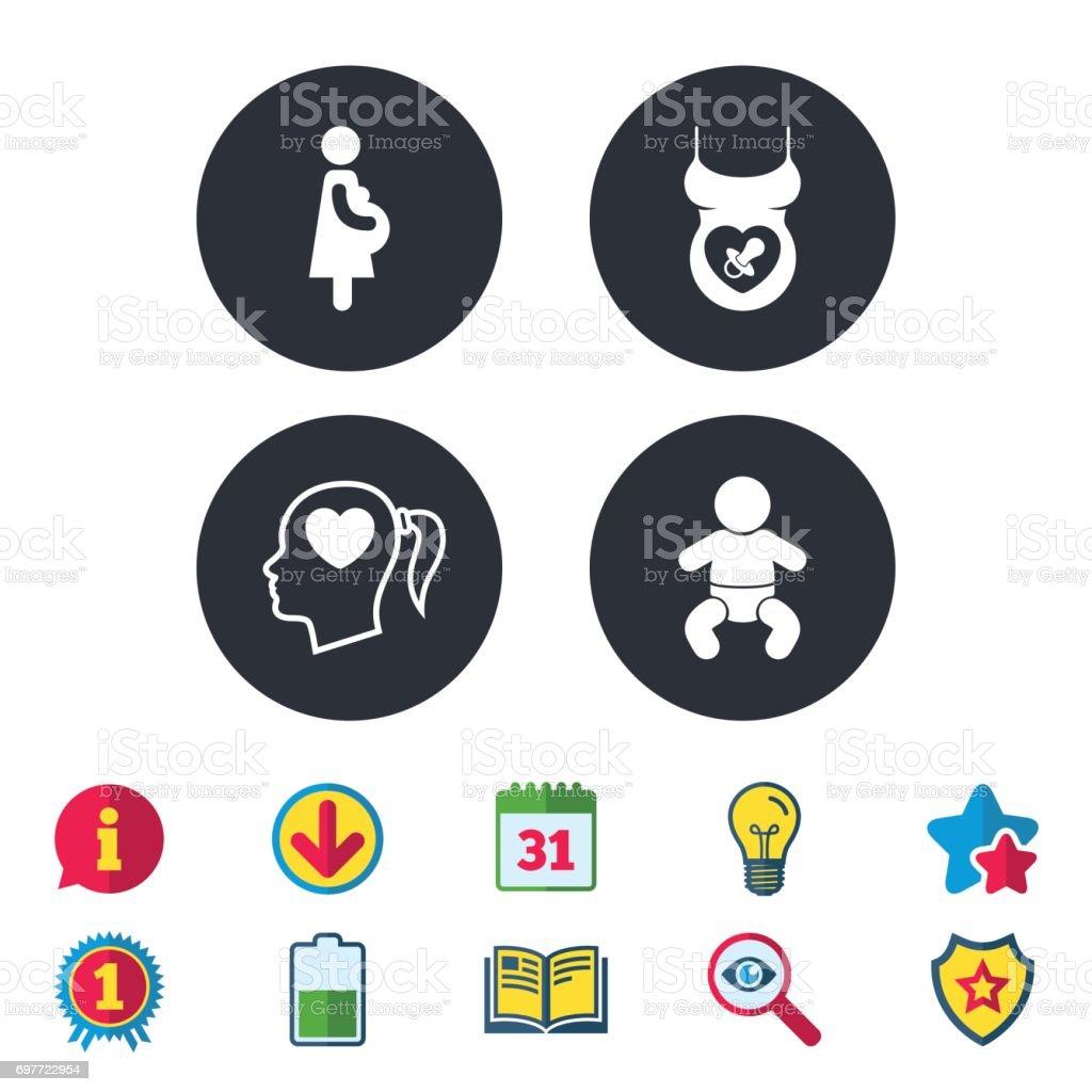 Maternity icons. Baby infant, pregnancy, dummy. vector art illustration