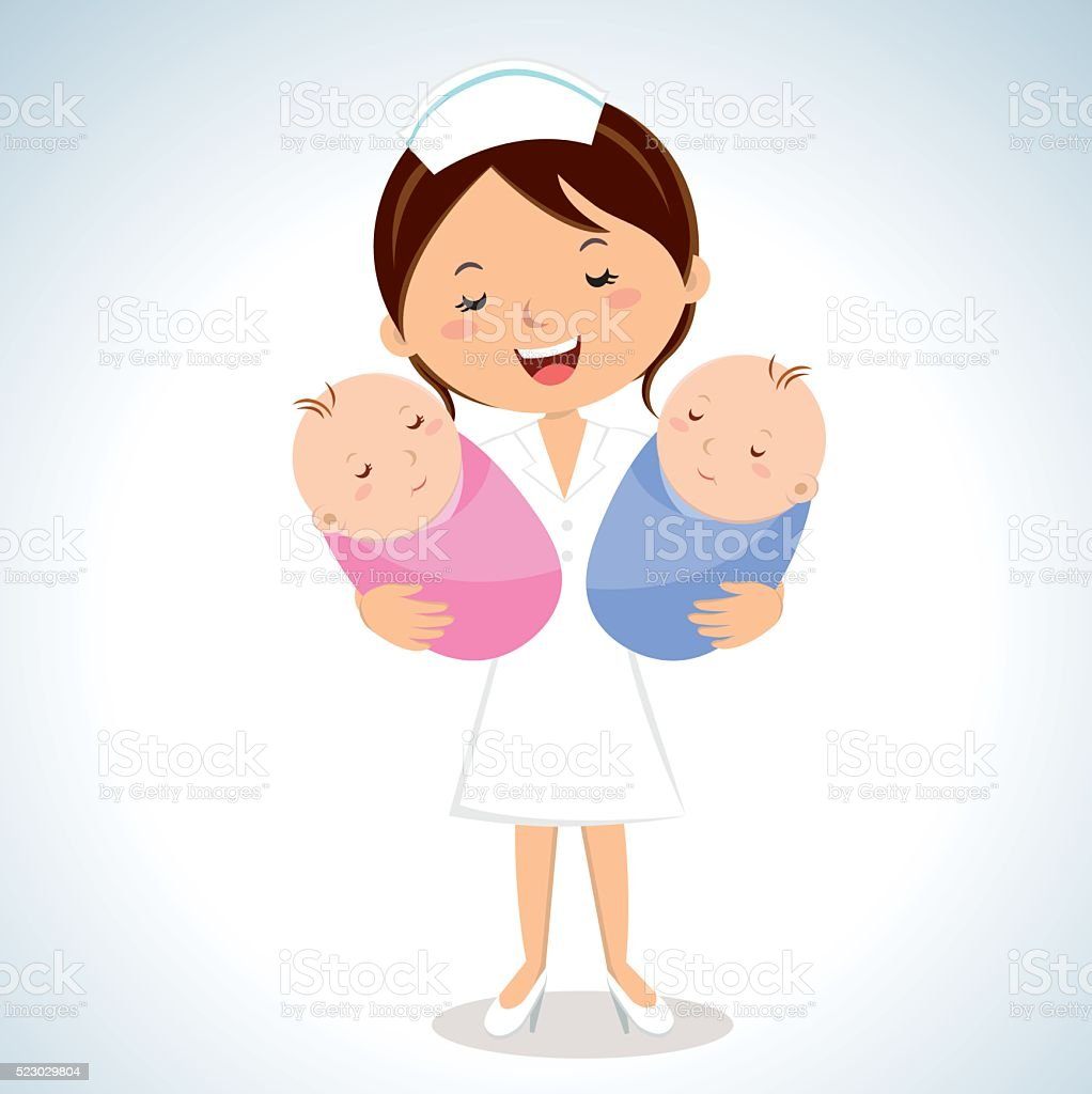 Maternity nurse carrying babies vector art illustration