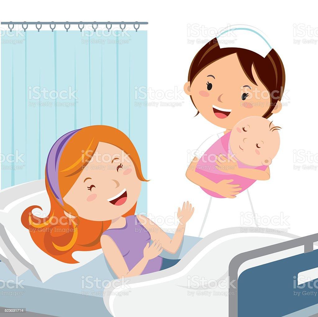 Maternity ward. Female nurse holding newborn baby girl. vector art illustration