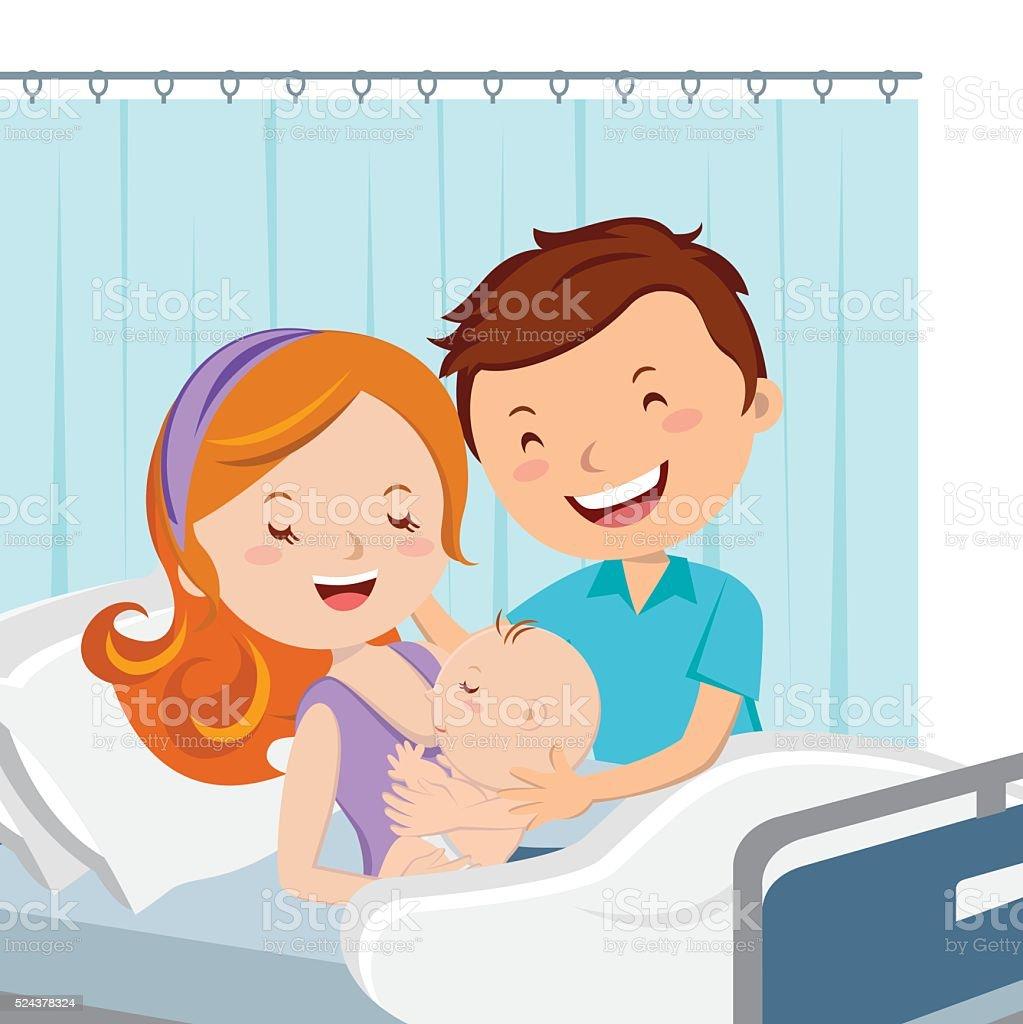 Maternity ward. Happy parent with newborn baby. vector art illustration