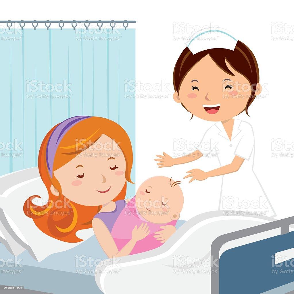 Maternity ward. Mother holding newborn baby. vector art illustration