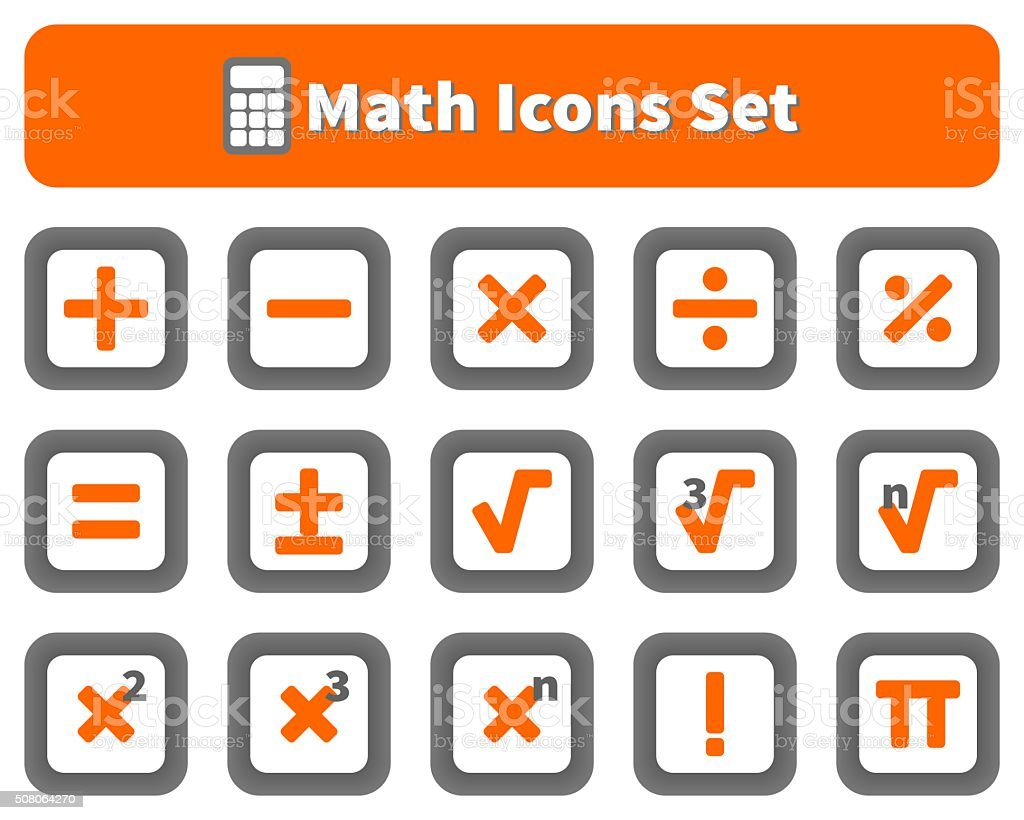 Math and calculator icons set vector art illustration