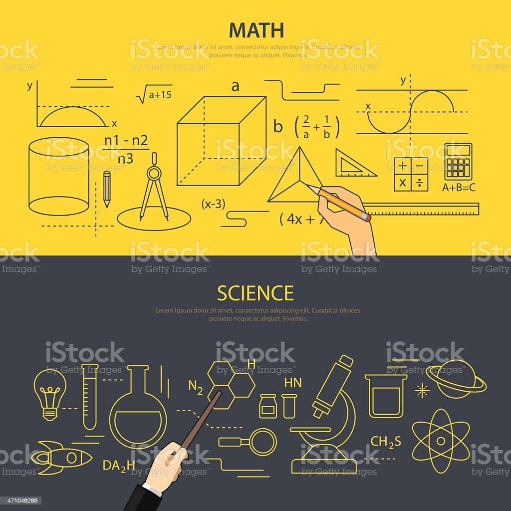 math and science education concept vector art illustration