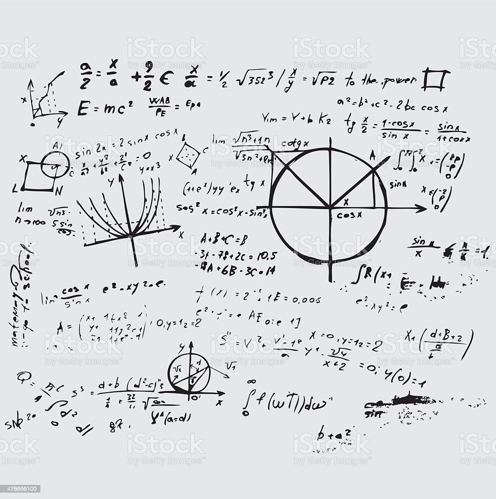 Math education vector. Mathematical background handwritten vector art illustration