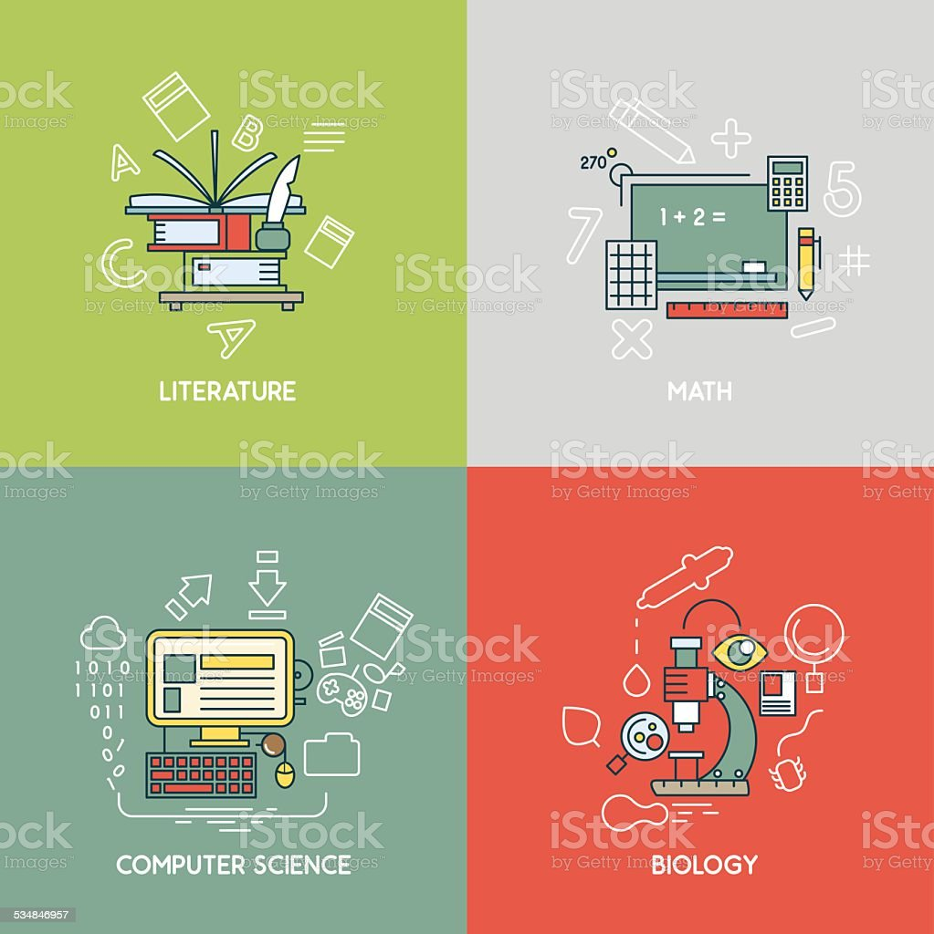 Math, literature, computer science and biology vector art illustration