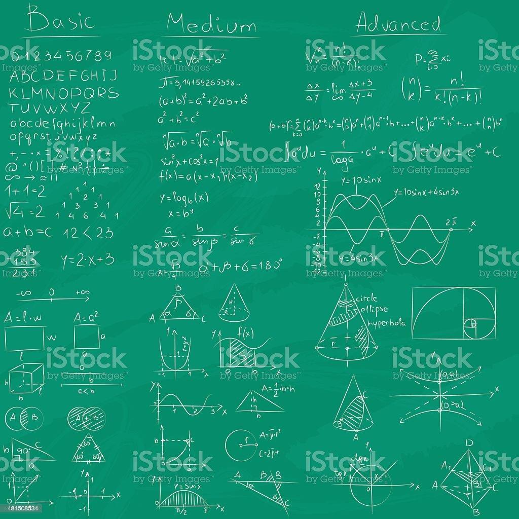 Math och Chalkboard background. vector art illustration