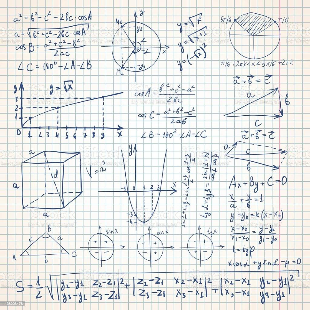 Math sketchy background vector art illustration