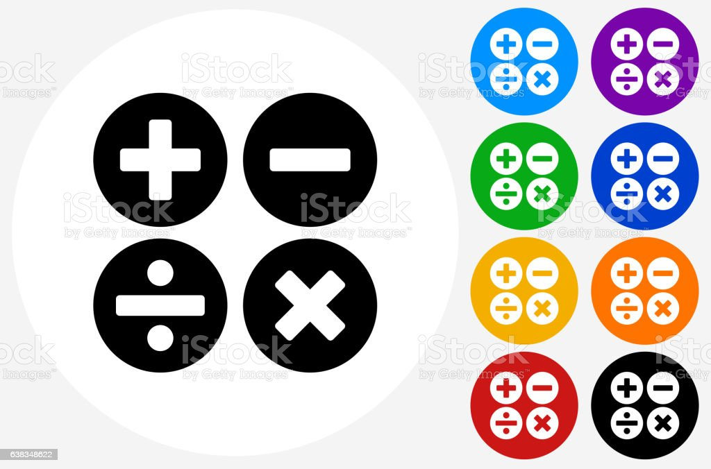 Math Symbols Icon on Flat Color Circle Buttons vector art illustration