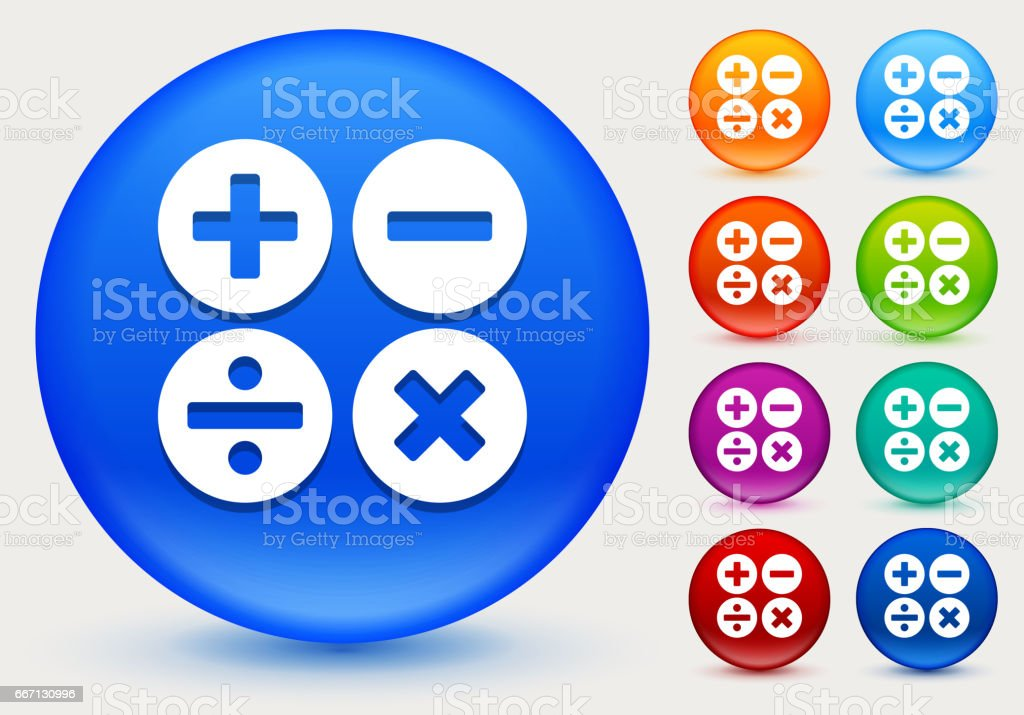 Math Symbols Icon on Shiny Color Circle Buttons vector art illustration
