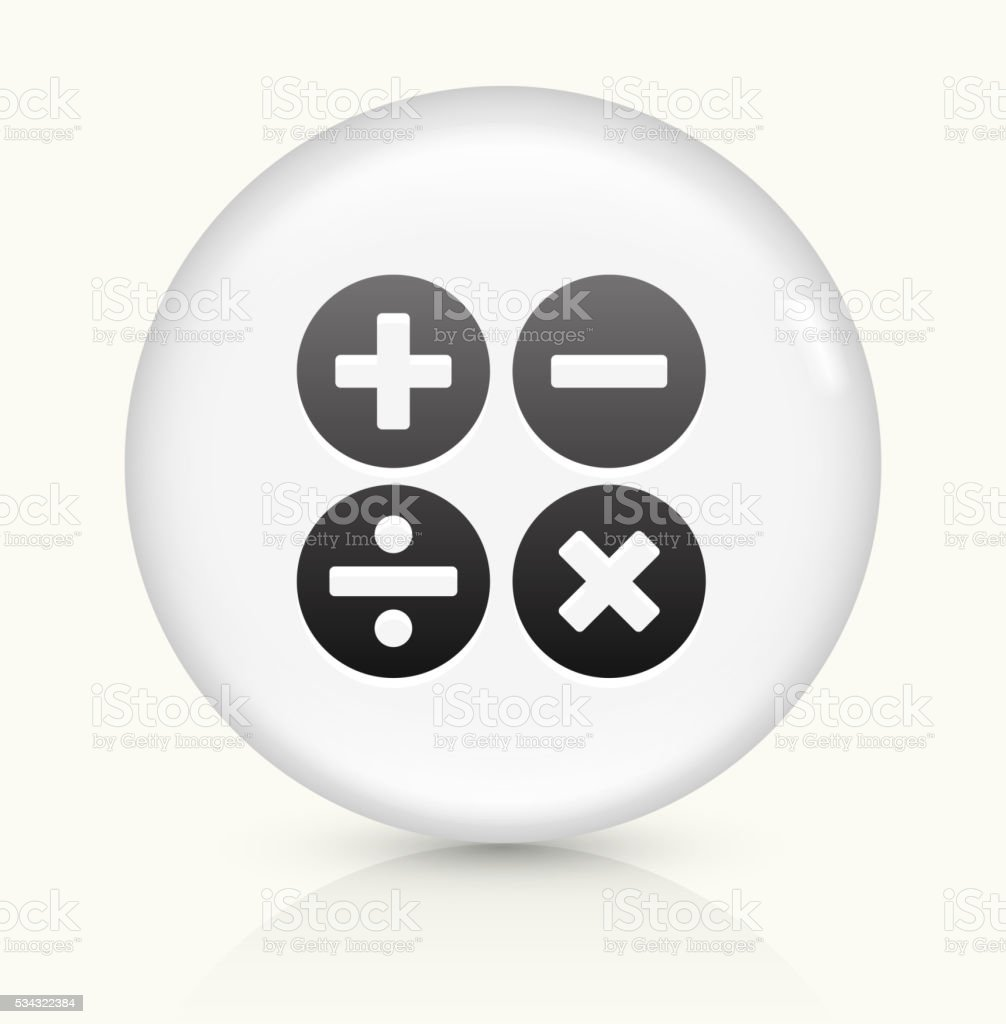 Math Symbols icon on white round vector button vector art illustration
