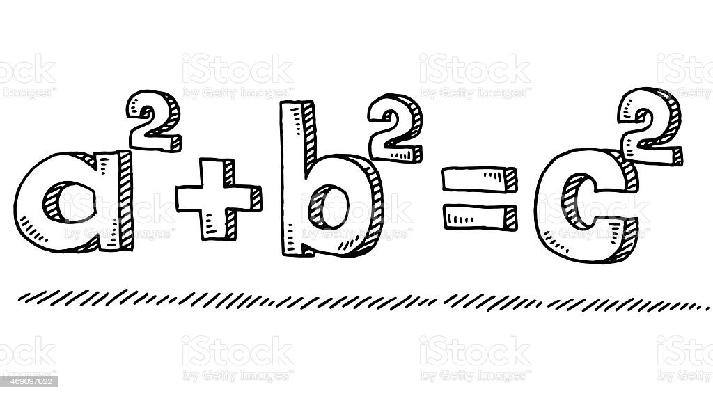 Mathematic Formula Pythagoras Drawing vector art illustration