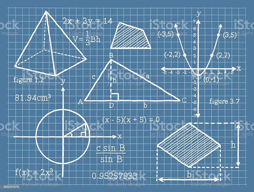 Mathematics, Algebra, Geometry, Trigonometry vector art illustration