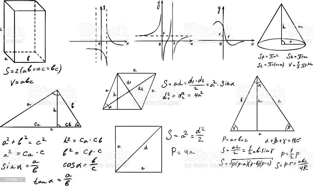 mathematics and geometry vector set vector art illustration
