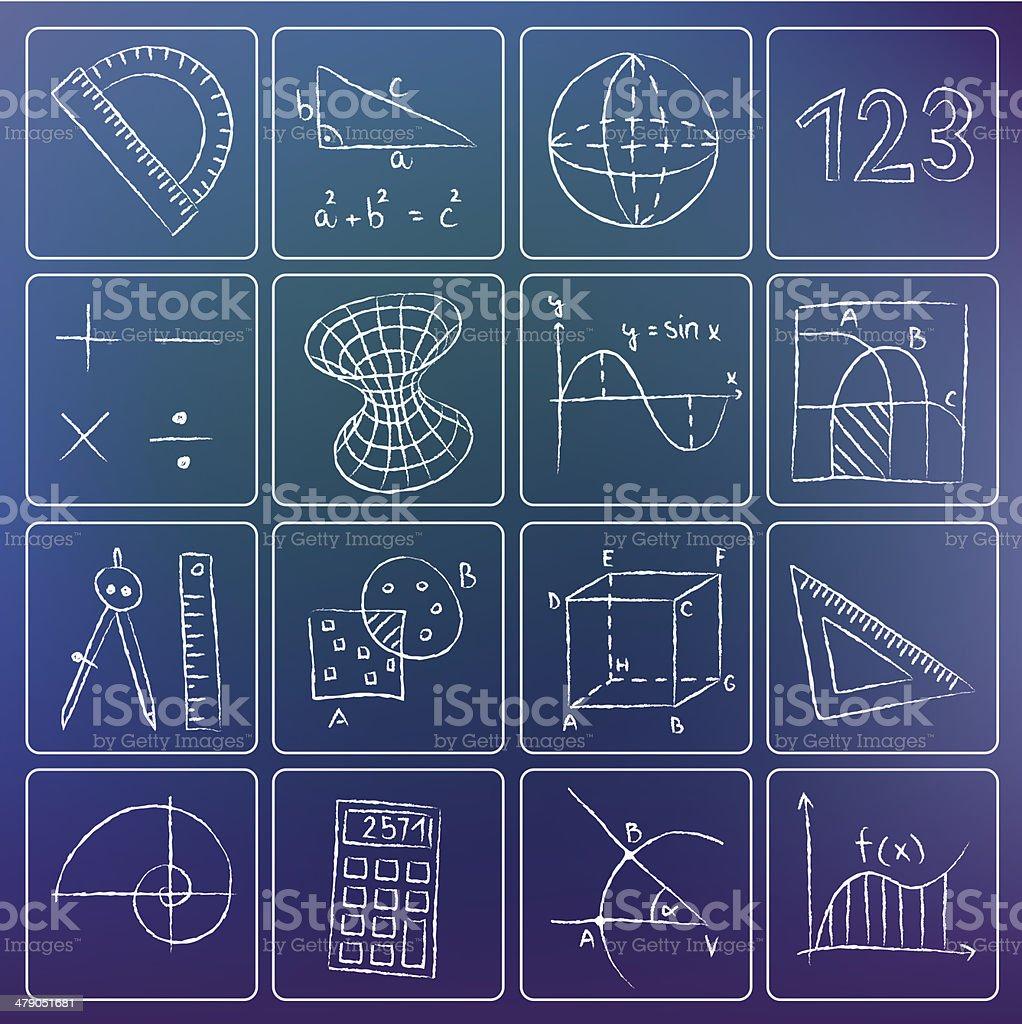 Mathematics chalky icons vector art illustration