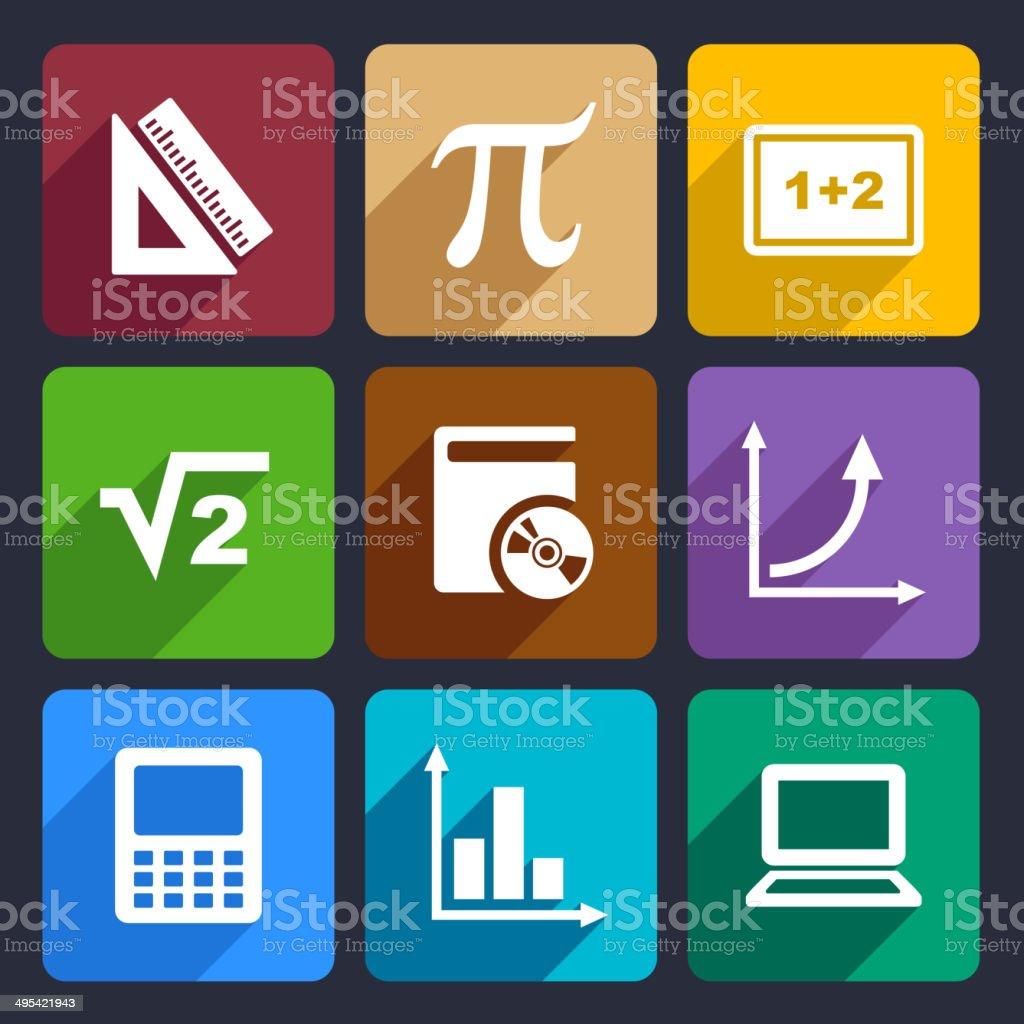 Mathematics Flat Icons Set 52 royalty-free stock vector art