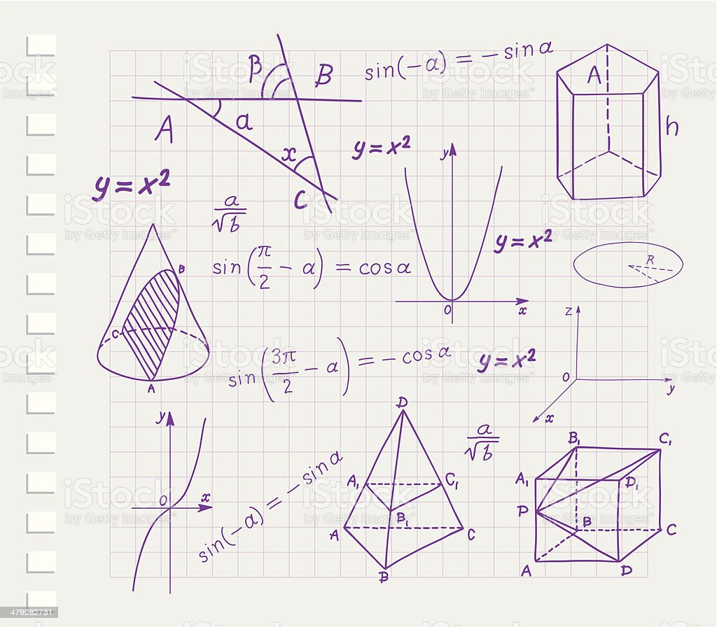 Mathematics - geometric shapes and expressions sketches vector art illustration