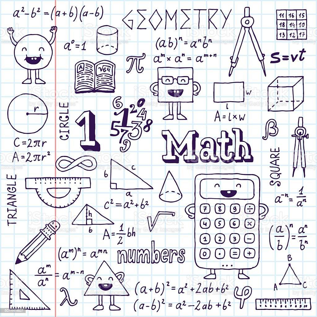 Mathematics. Hand drawn. Vector illustration. School notebook. vector art illustration