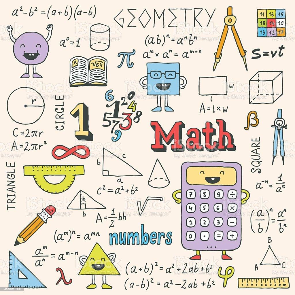 Mathematics. Hand drawn. Vector illustration. vector art illustration