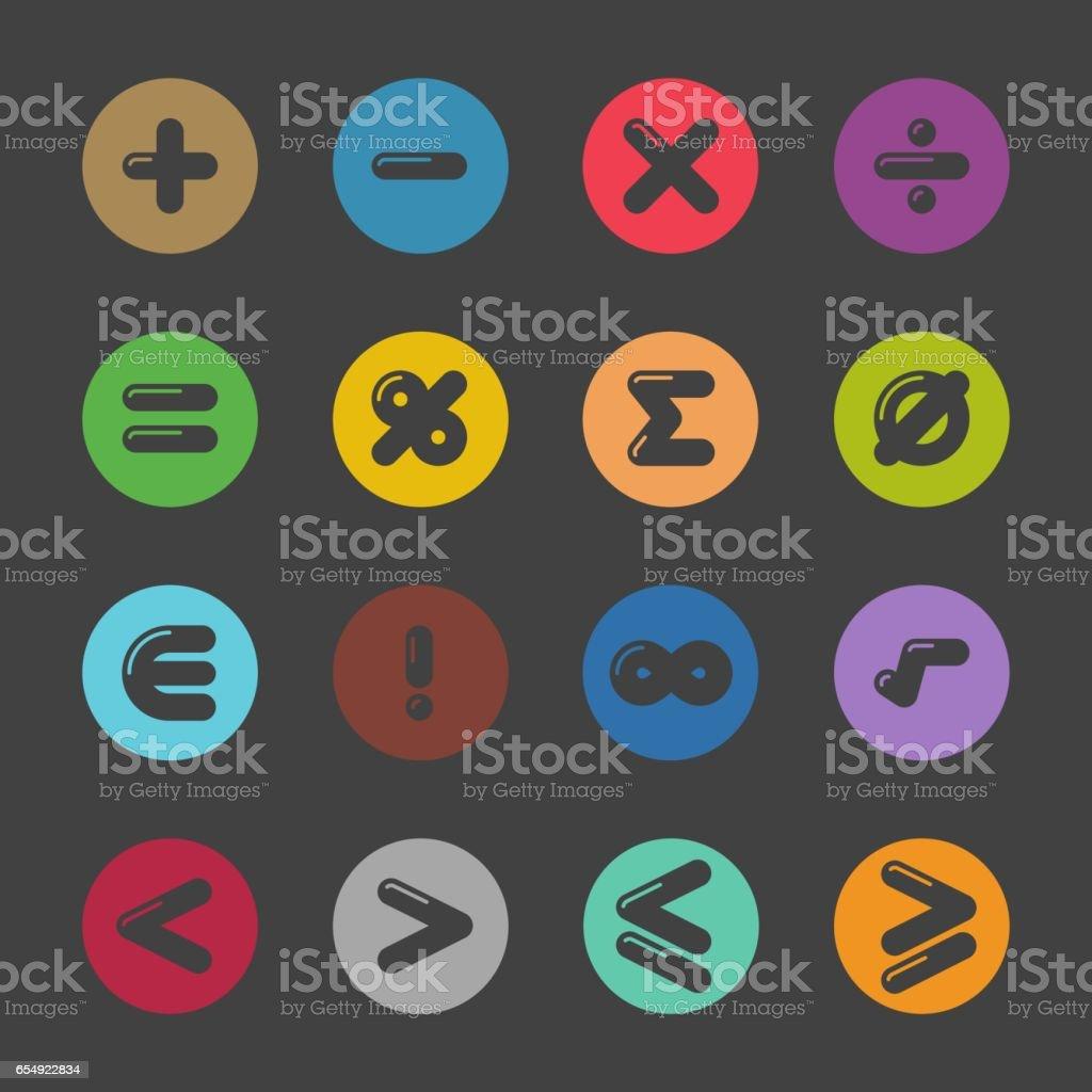 Mathematics Icons - Color Circle Series vector art illustration