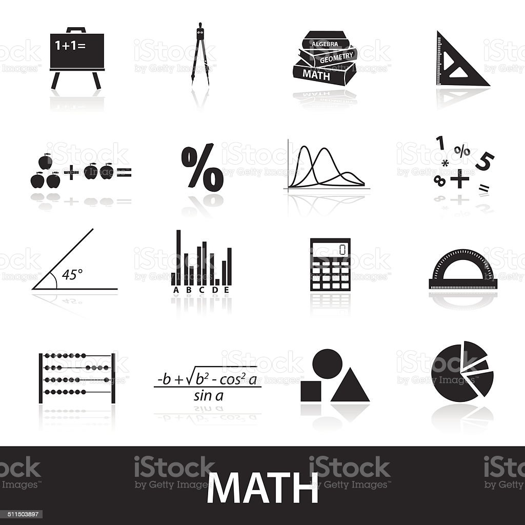 mathematics icons set eps10 vector art illustration