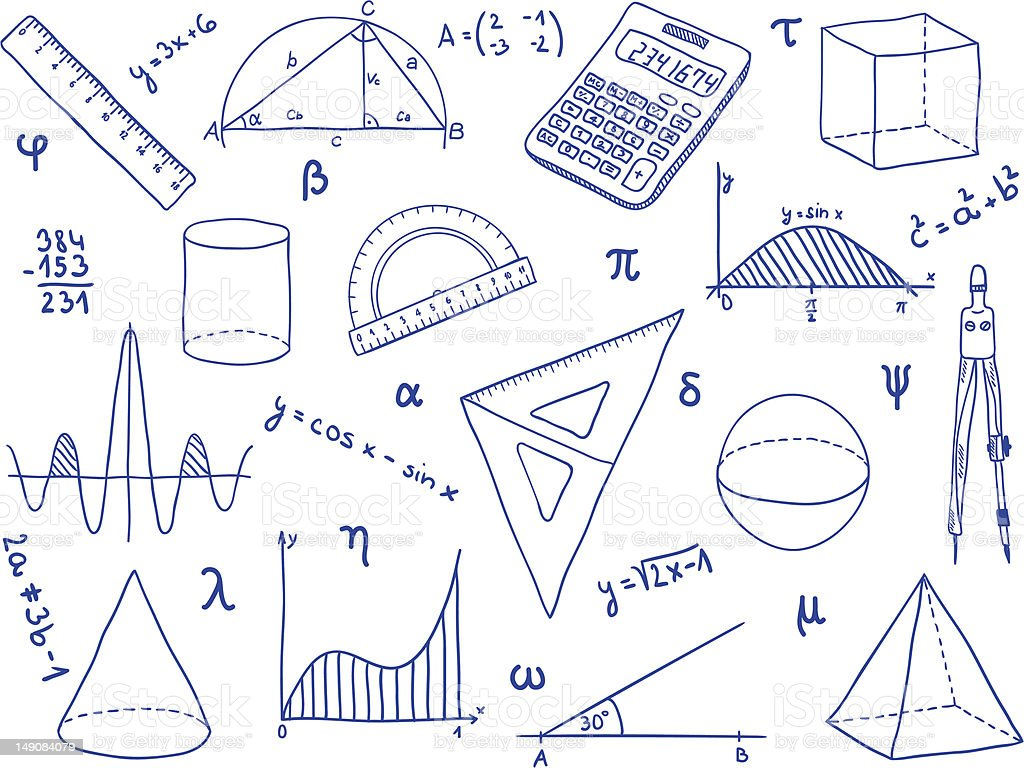 Mathematics - school supplies, geometric shapes and expressions royalty-free stock vector art