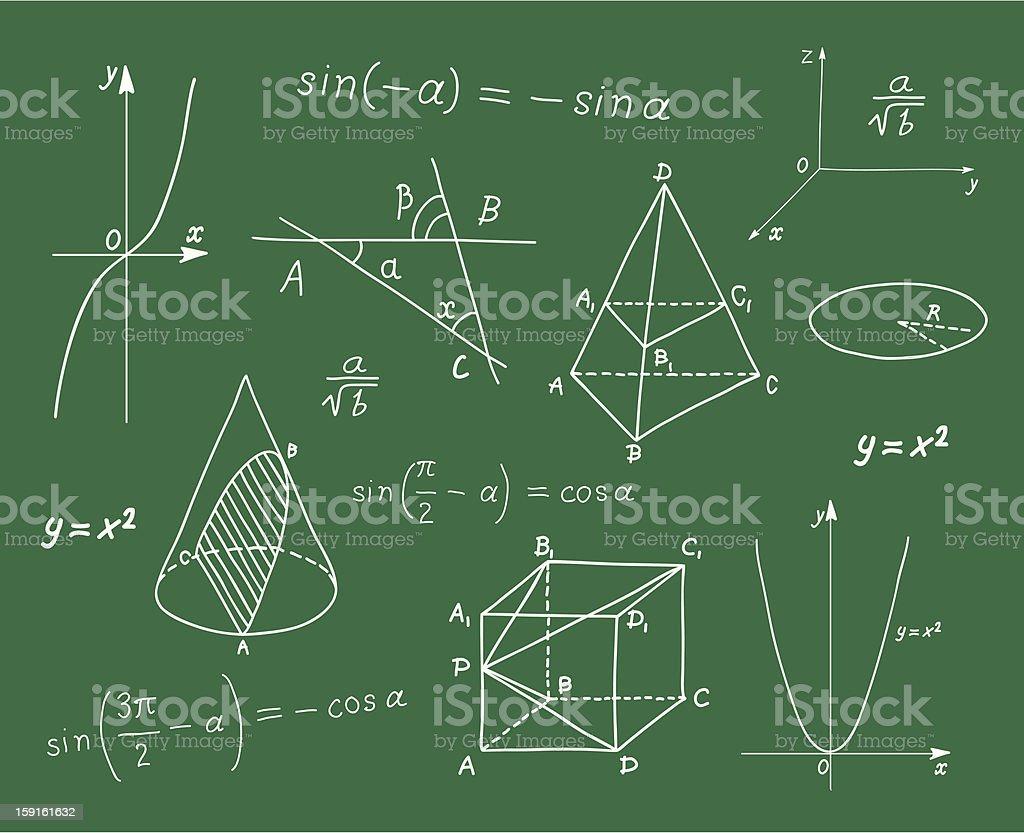 Mathematics sketches on school board royalty-free stock vector art