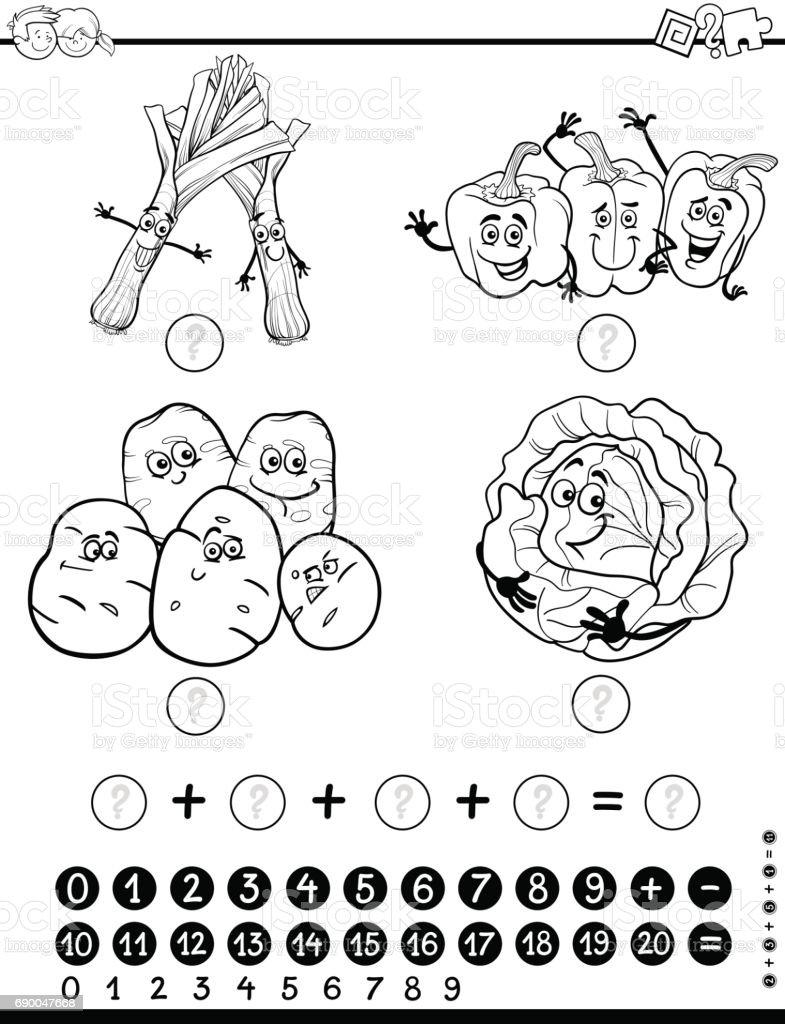 cabbage food leek leisure games number maths activity worksheet coloring page