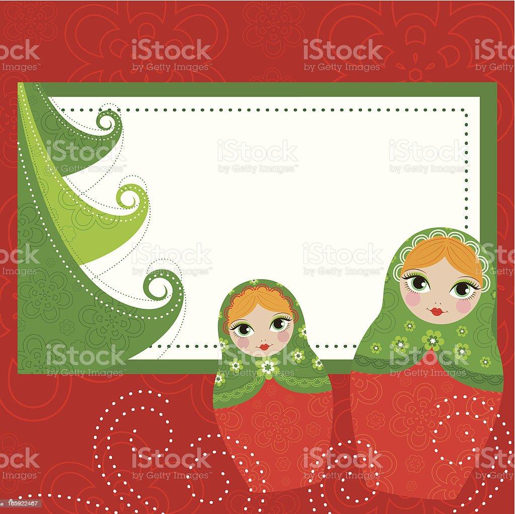 Matrioska Christmas Banner vector art illustration