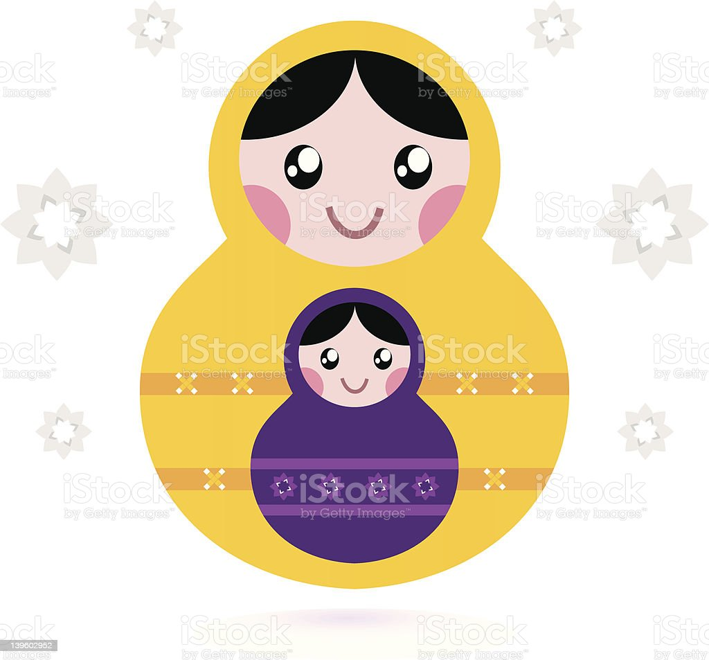 Matryoshka dolls isolated on white royalty-free stock vector art
