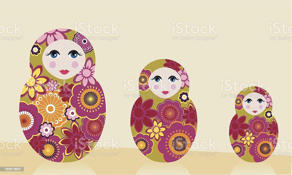 matryoshka dolls vector art illustration