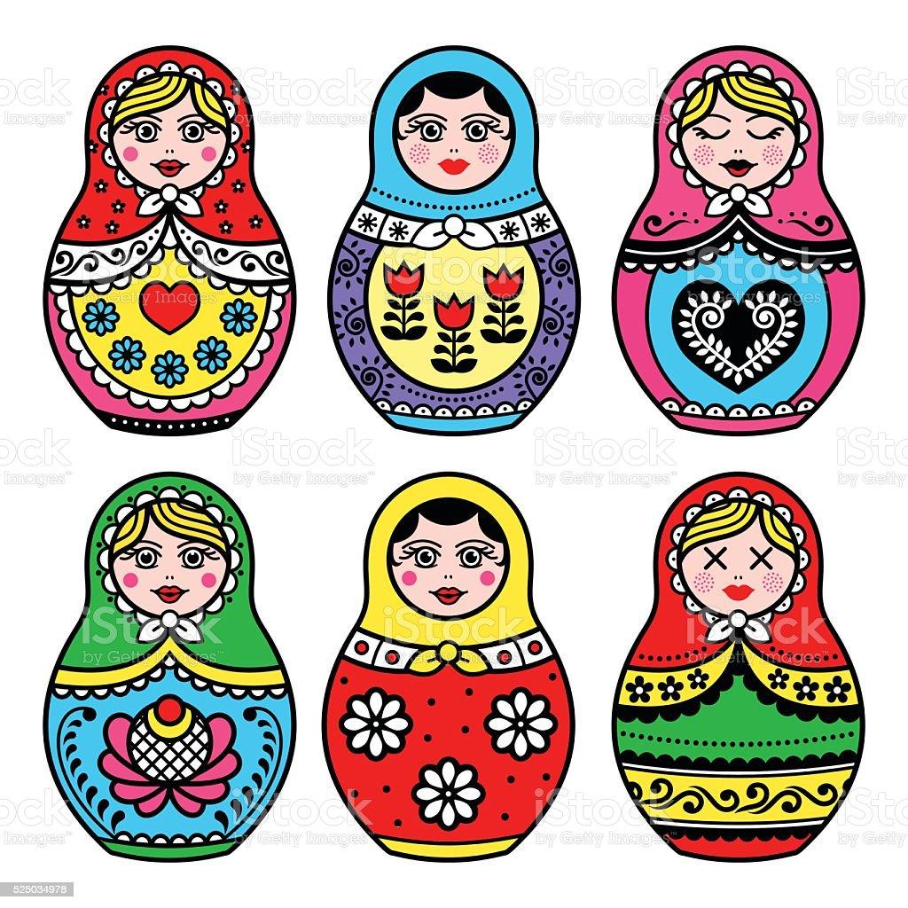 Matryoshka, Russian doll colorful icons set vector art illustration