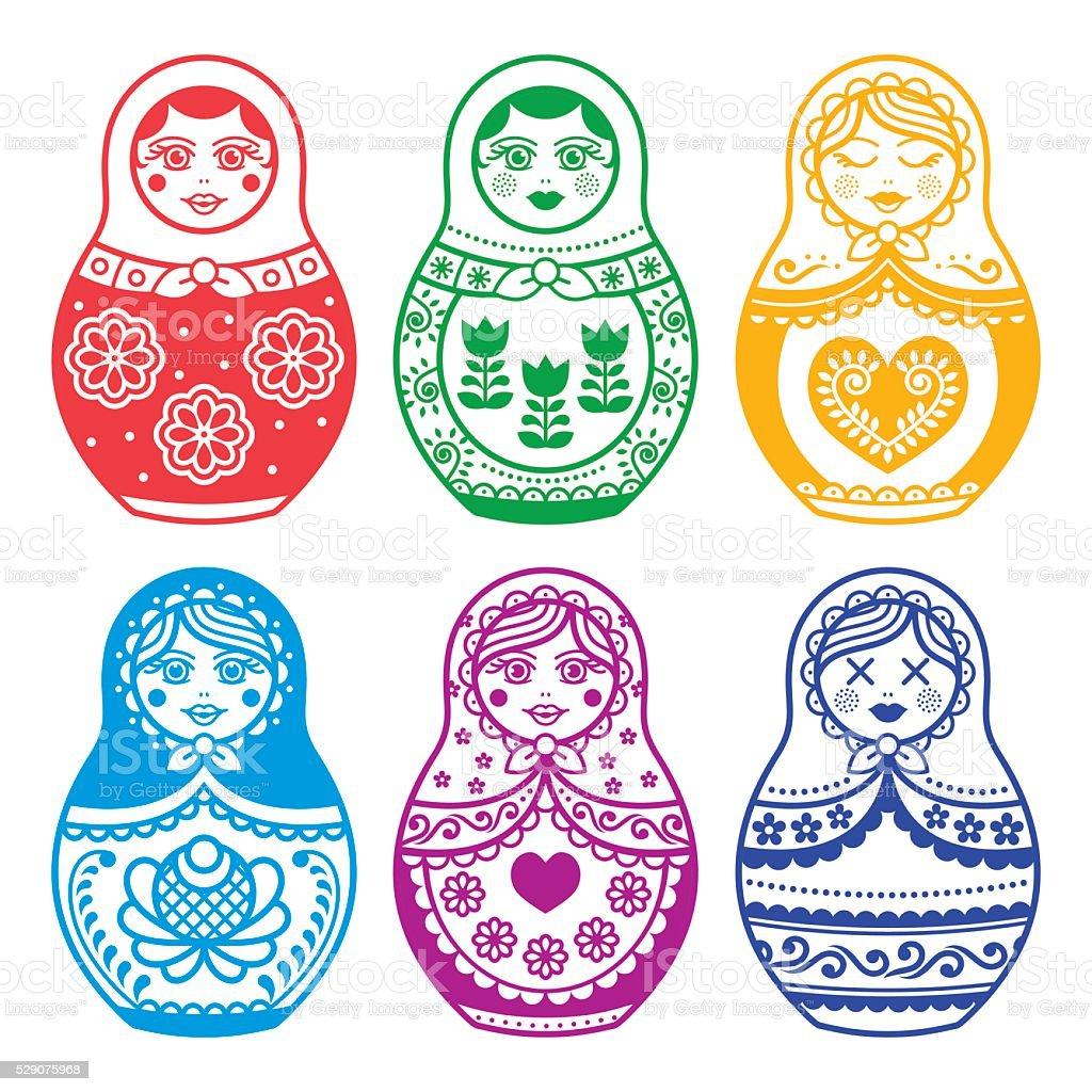 Matryoshka, Russian doll vector design vector art illustration
