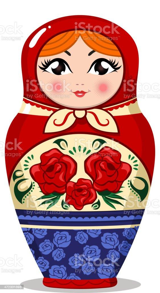Matryoshka Russian nesting doll vector art illustration