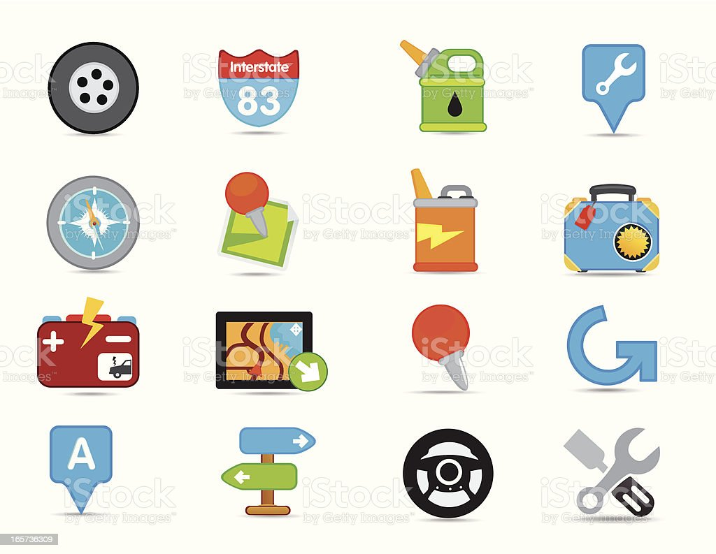 Matte travel and GPS Icons vector art illustration