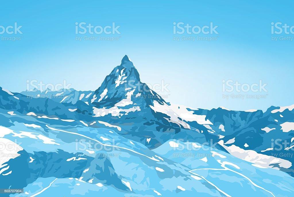 Matterhorn mountain vector art illustration