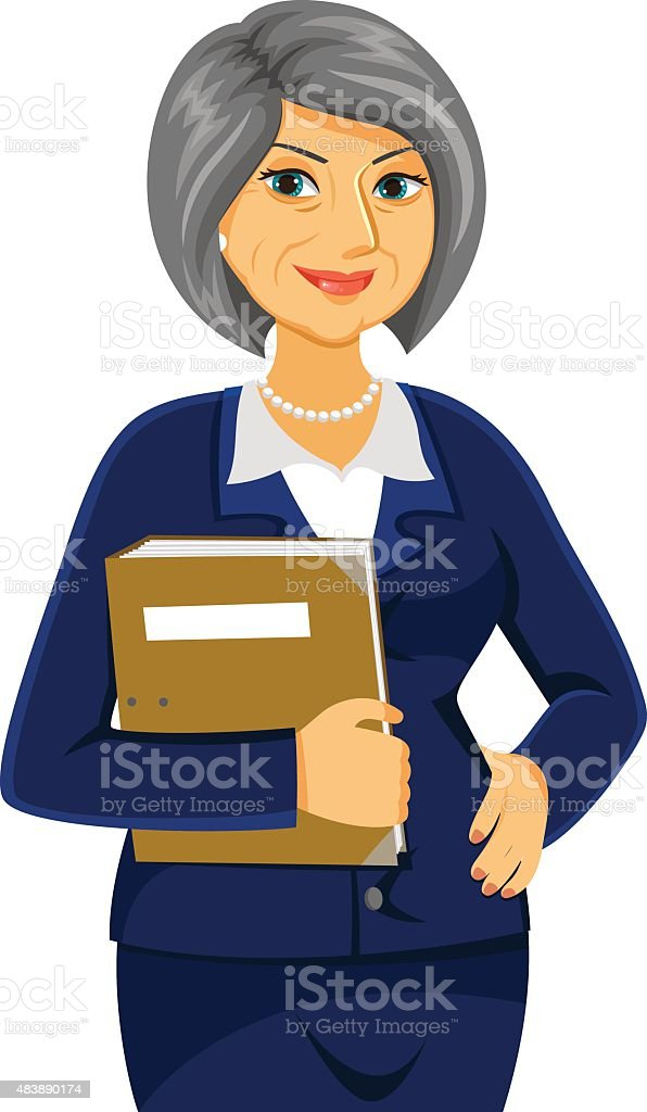 mature business woman vector art illustration
