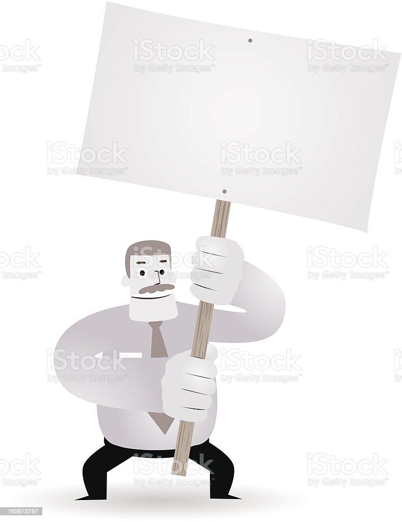 Mature businessman( teacher, boss ) holding a blank sign(message) royalty-free stock vector art
