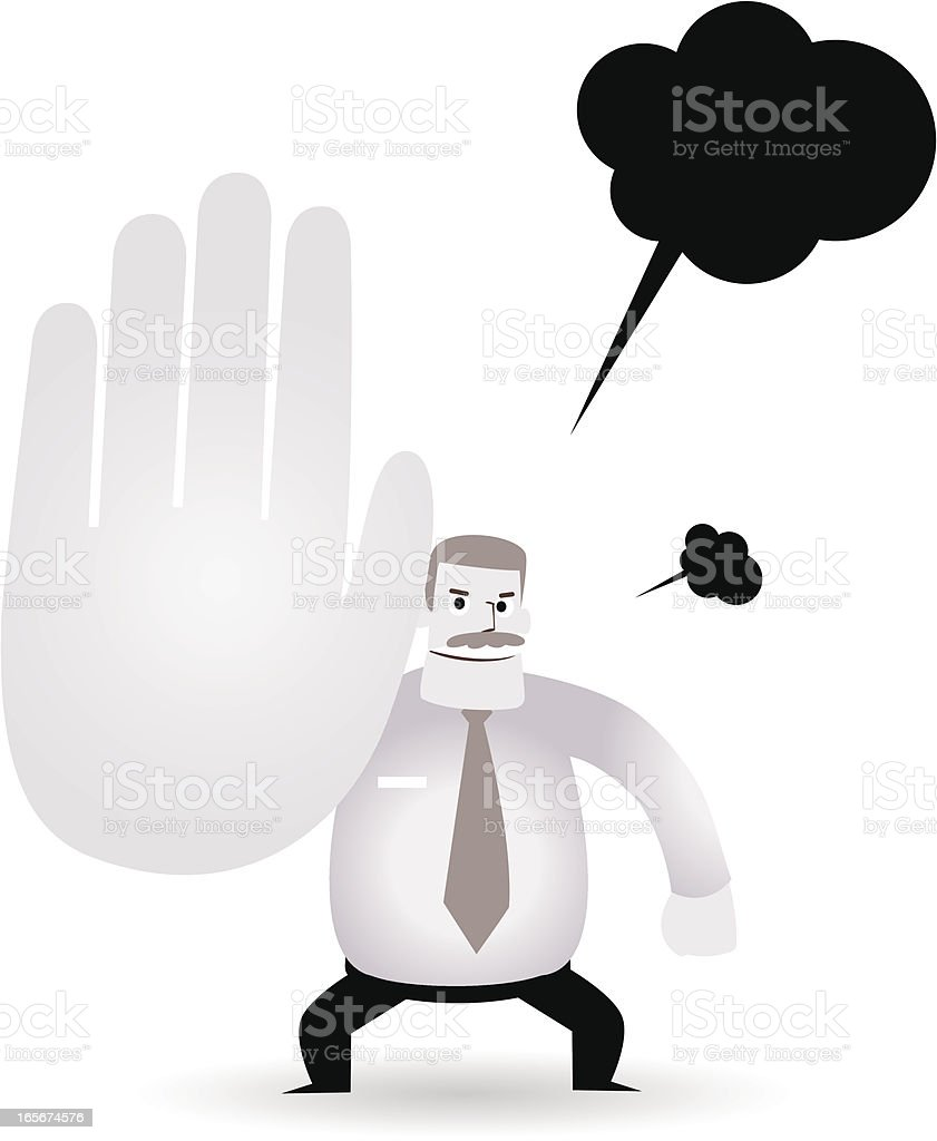 Mature businessman( teacher, boss ) showing No ( Hold On, Stop ) royalty-free stock vector art