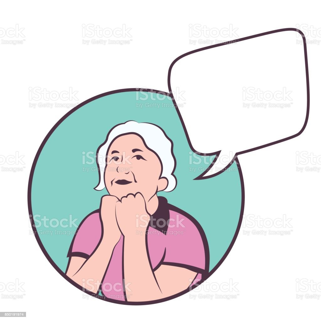Mature caucasian woman thinking about life. colorful vector with copyspace vector art illustration