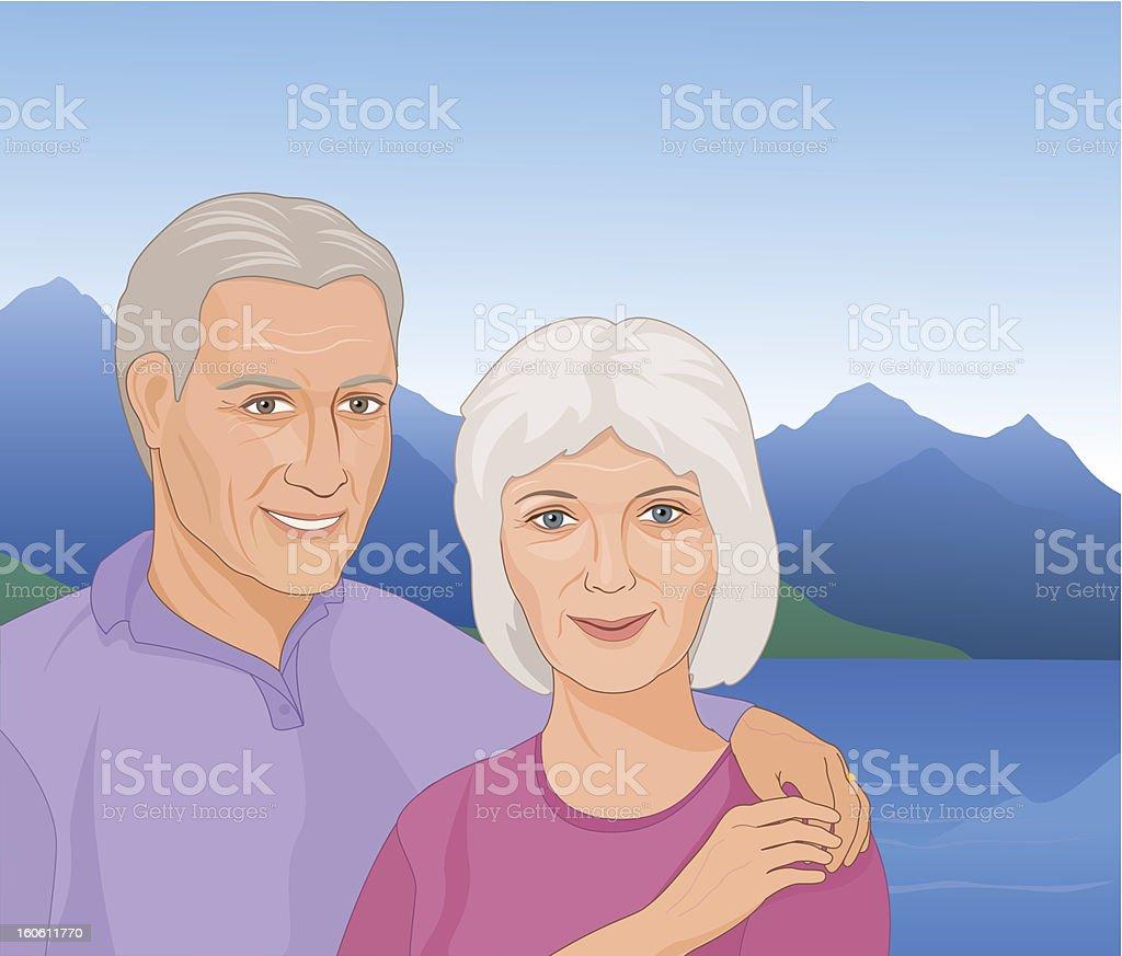 Mature couple vector art illustration