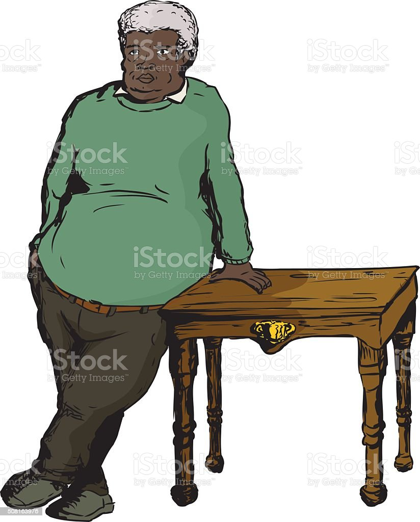 Mature Man in Green Leaning on Table vector art illustration